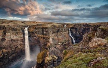 скалы, природа, пейзаж, каньон, красота, водопады, струи воды