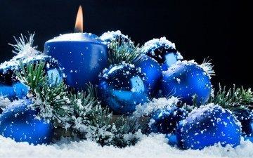 снег, новый год, фон, синий, шарики, горит, свеча, темный
