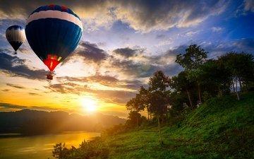 облака, вечер, озеро, солнце, природа, закат, пейзаж, воздушные шары, таиланд