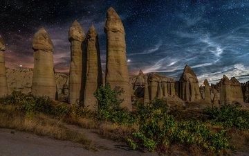 небо, ночь, скалы, природа, пейзаж, турция, каппадокия