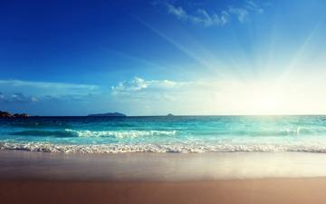 небо, закат, море, красивый