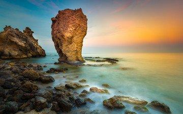 природа, закат, пейзаж, море, скала, побережье, красота