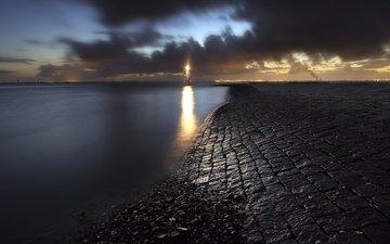 ночь, камни, берег, море, маяк