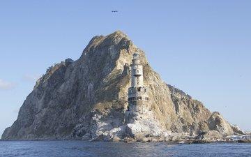 скалы, море, маяк, залив, мыс, сахалин, анива, маяк анива