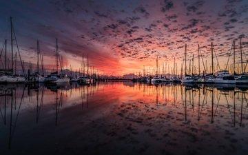 облака, берег, закат, отражение, море, яхты, лодки, пирс, океан, сумерки, порт, гавань, парусники