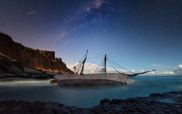 берег, море, корабль