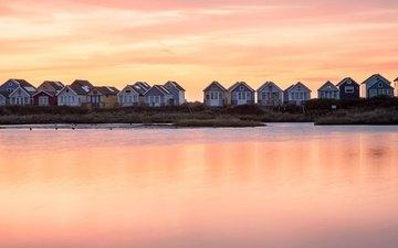 берег, закат, домики