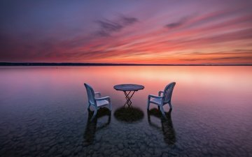 берег, закат, стол, стул