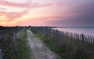 берег, закат