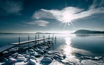 берег, зима, утро, мост