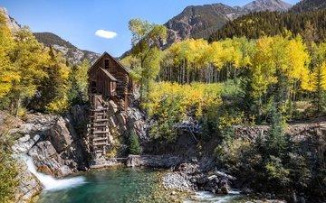 деревья, горы, лес, пейзаж, домик