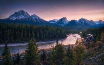 деревья, река, горы, железная дорога, лес, поезд, канада, провинция альберта, национальный парк банф, канадские скалистые горы, bow river
