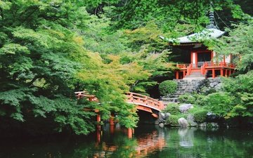 деревья, вода, озеро, камни, зелень, лестница, стиль, парк, ветки, мост, осень, азия, пруд, здание