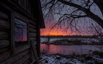 деревья, вода, природа, закат, зима, пейзаж, дом