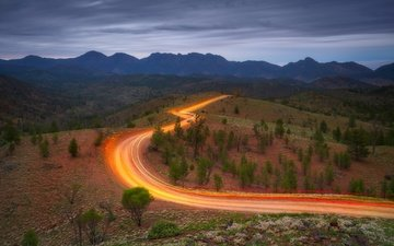 дорога, деревья, горы, австралия, новый южный уэльс