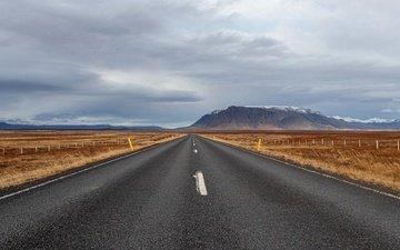 дорога, горы, поле