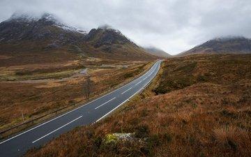 дорога, горы, туман, поле