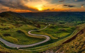 дорога, горы, закат