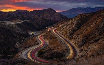 дорога, огни, горы, закат