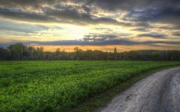 дорога, закат, поле