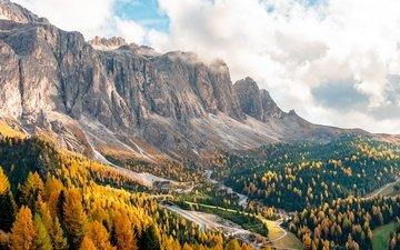 деревья, горы, пейзаж, осень, италия