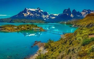 горы, мост, остров, чили