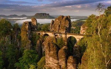 горы, природа, мост, германия, саксония