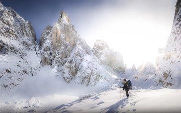 горы, снег, природа, человек