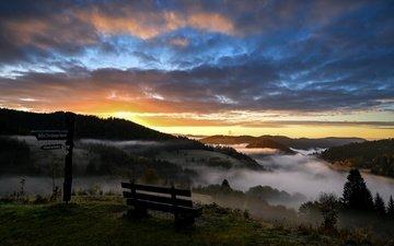 горы, утро, скамья