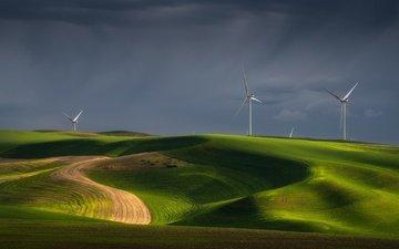 холмы, поля, ветряки, луга