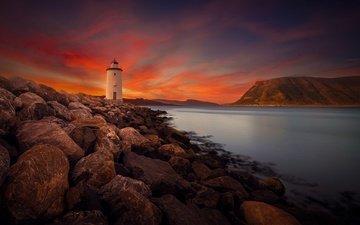 камни, берег, маяк, зарево