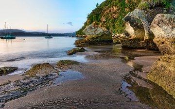 камни, пейзаж, песок, пляж, яхты, залив, новая зеландия
