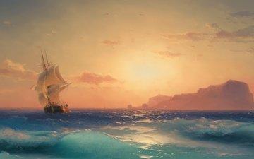 море, корабль, парусник, морской пейзаж