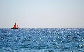 море, лодка, отблески, паруса