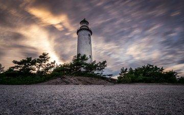 небо, берег, маяк