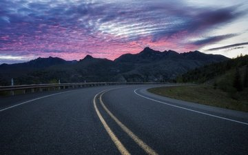 небо, дорога, закат