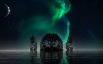 небо, ночь, вода, скалы, космос, отражение, звезды, планета, луна, водоем, северное сияние, рендеринг, звездное небо, симметрия