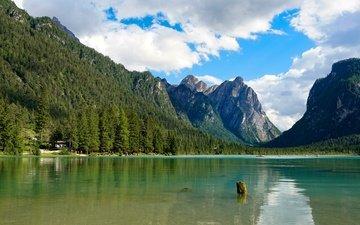 небо, облака, деревья, озеро, горы, скалы, солнце, лес, лодки, италия, альпы