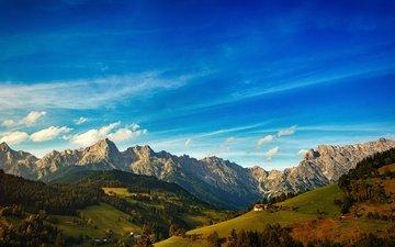 небо, облака, горы, холмы, лес, вид, домики, вершины, высота, дом, склоны, даль, домик, ели, синева, альпы