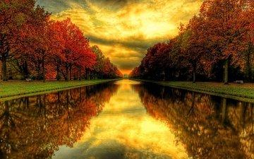 трава, деревья, вода, река, природа, закат, отражение, пейзаж, парк, осень, канал