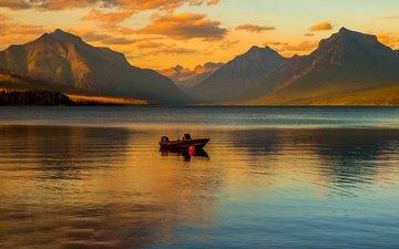 озеро, горы, лодка