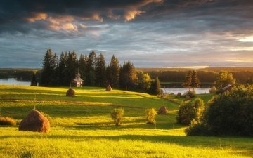 озеро, природа, лес, лето, луга, сенокос, национальный парк, архангельская область