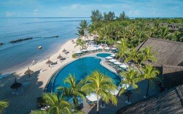 пляж, пальмы, бассейн, курорт, тропики, индийский океан