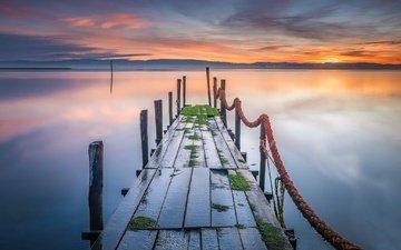 природа, закат, мост
