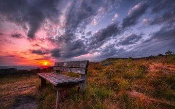 природа, закат, скамья