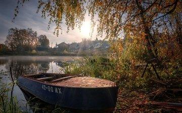 река, природа, пейзаж, утро, город, осень, лодка