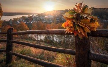 река, солнце, природа, листья, лучи, пейзаж, город, осень, дома, ограждение, холм, венок, волга