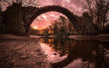 река, закат, мост