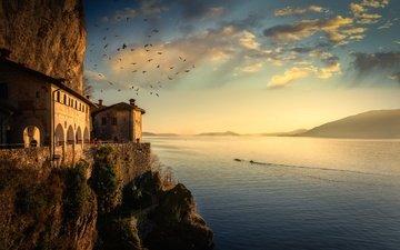 скалы, корабль, дома, птицы