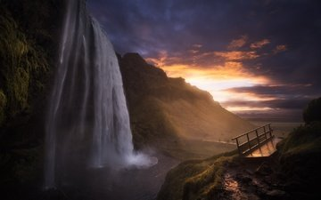 скалы, закат, водопад, исландия